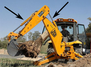 Backhoes use hydraulic cylinders.