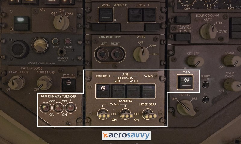 767 exterior lighting controls - Savvy Passenger Guide to Airplane Lights- AeroSavvy