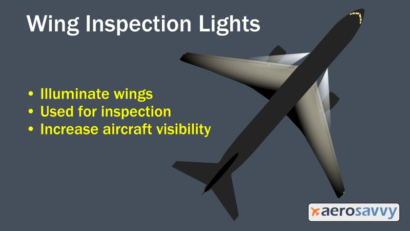 Wing inspection lights - Savvy Passenger Guide to Airplane Lights- AeroSavvy