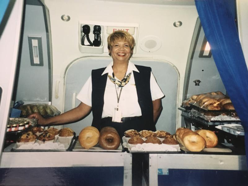 Donise in Galley - UPS Passenger Flights - AeroSavvy