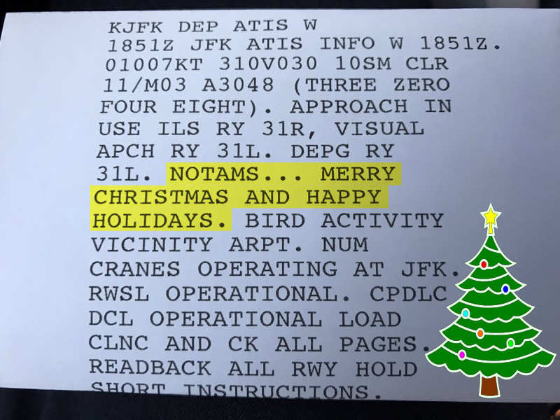 Printed ATIS showing Merry Christmas and Happy Holidays from Newark Tower - Aerosavvy
